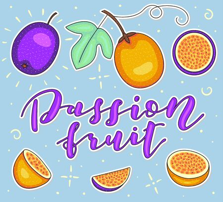Passion fruit. Whole and pieces. Vector stock illustration. Colored fruit set isolated on blue background. Lettering. Ilustrace
