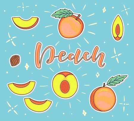 Pear. Whole and pieces. Vector stock illustration. Colored fruit set isolated on blue background. Lettering.