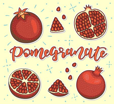 Pomegranate Whole and pieces. Vector stock illustration. Colored fruit set isolated on yellow background. Lettering.