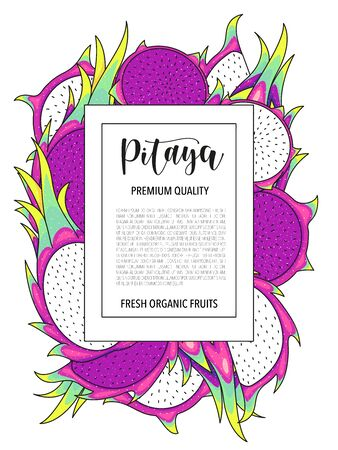 Vector background with pitaya, whole and pieces. Vector stock illustration isolated on white background. Card design with fruits. Product information and lettering.