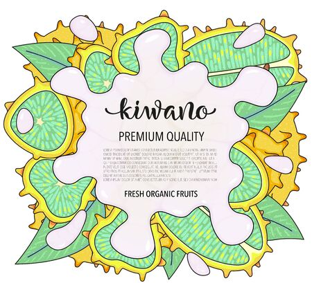 Vector background with kiwano, whole and pieces. Vector stock illustration isolated on white background. Card design with fruits. Splash of water or milk. Product information and lettering.