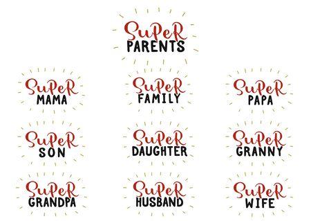 Super famille, parents, maman, papa, fils, fille, grand-mère, grand-père, mari, femme. Ensemble écrit à la main. Illustration vectorielle de stock.