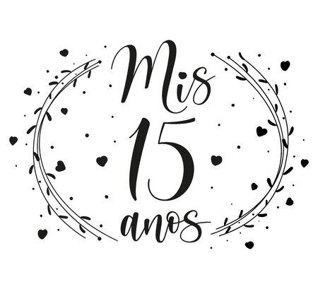 Lettering for Quinceanera party. Teenager girl birthday celebration calligraphy. Black text isolated on white background. Vector stock illustration. Mis 15 anos