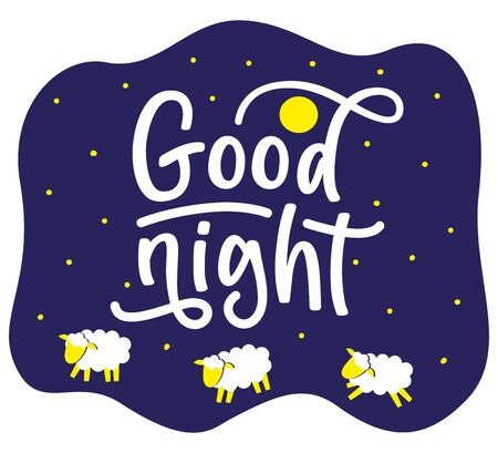 Good night concept. Vector stock illustration. Lettering and cartoon sheeps.