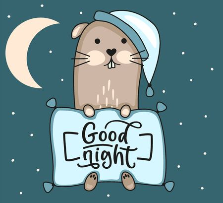 Good night lettering. Ferret in nightcap with pillow. Moon and night sky. Vector stock illustration. Illustration