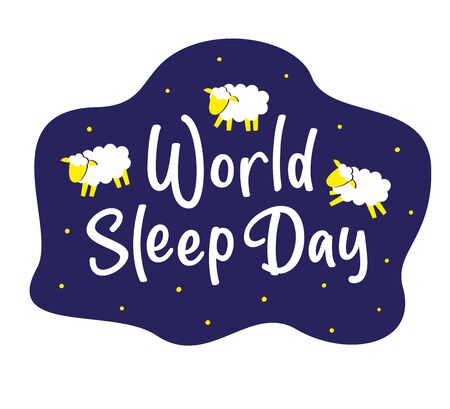 World Sleep Day concept. Sheeps and lettering. Vector stock illustration isolated on white background. 일러스트