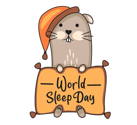 World Sleep Day concept. Ferret in nightcap with pillow. Vector stock illustration isolated on white background. Illustration
