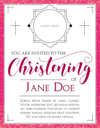 Girls Christening Invitation with beautiful lettering. Template in Vector about Baptism ceremony