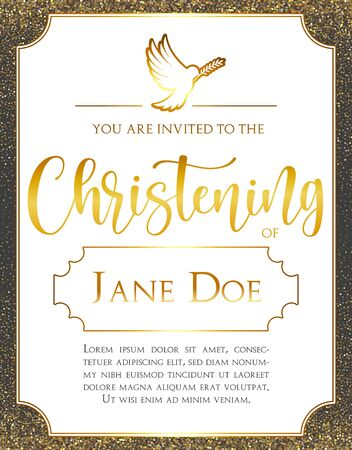 Christening Invitation with dove. Template in Vector about Baptism ceremony