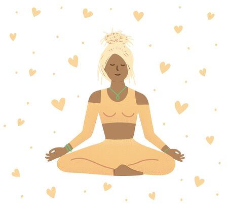 Young woman sitting with closed eyes and meditating. Meditation, relaxation, spiritual practice, yoga and breathing exercise. Flat cartoon colorful vector illustration.