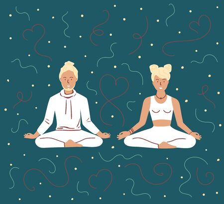 Couple use yoga together. Partner Yoga. Man and Woman meditating in Lotus Pose. Meditation, Spiritual practice or breathing exercise. Flat cartoon colorful vector illustration