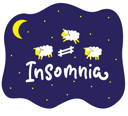 Insomnia picture. Night, moon and cute cartoon sheep jumping over fence. Vector stock illustration. Problem of insomnia, sleeplessness, sleep disorder.