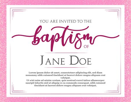 Christening Invitation. Template in Vector about Baptism ceremony. Pink flyer.