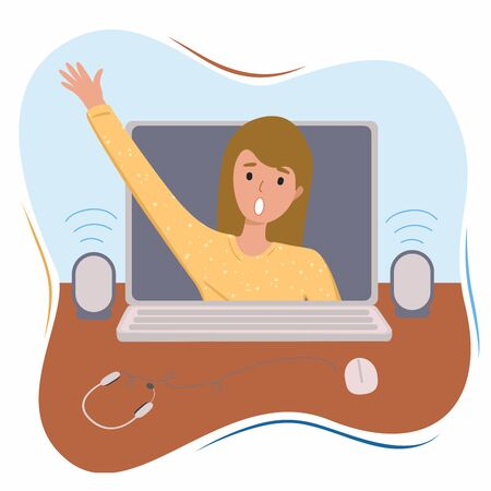 Girl or woman trying to go out from computer. Concept of addiction to internet or person addicted to social media services. Flat vector stock illustration 向量圖像