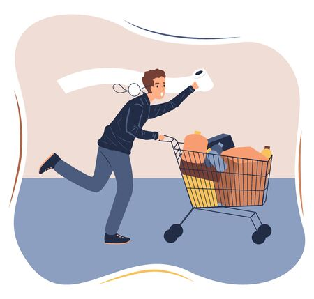 Coronavirus panic shopping. Terrified man runnig with full cart. COVID-19 concept flat vector stock illustration.