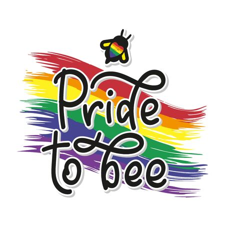 Gay Lettering. Conceptual poster with LGBT rainbow and calligraphy. Black handwritten phrase Pride To Be. Vector stock illustration isolated on white background.