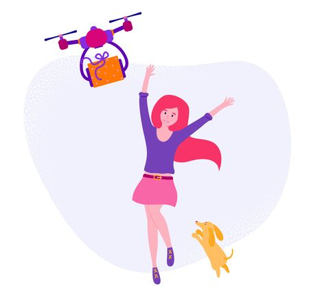 Flat vector stock illustration isolated on white background. Excited cute girl jumping for joy receiving a gift. Drone brings orange box is decorated with purple ribbon.