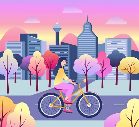 Cute happy young woman on bicycle. Flat cartoon colorful vector stock illustration. Woman riding in the park. Modern city or business center is behind her