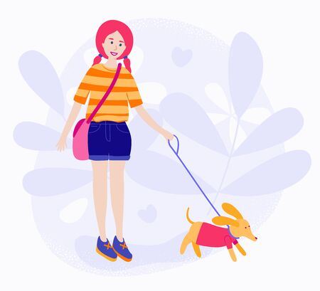 Girl walking with her dog. Flat cartoon style. Vector stock illustration.