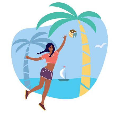 Young girl with ball in the tropical beach - cartoon character playing sports game with ball - flat vector stock illustration isolated on white background. Beach volleyball female player.