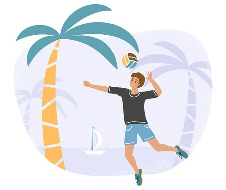Man enjoying being outside and take active rest at sea - flat vector stock illustration with a young or adult male player with a ball as a concept of the beach game or vacation