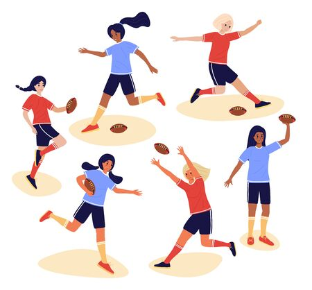 Collection of young female rugby players isolated on white background, bundle of cute happy women playing with boll. Set of teenage girls in flat cartoon stile, colorful vector illustration.