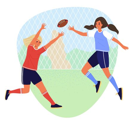 Two student girls play rugby in school sports ground. Flat cartoon vector stock illustration isolated on white background.