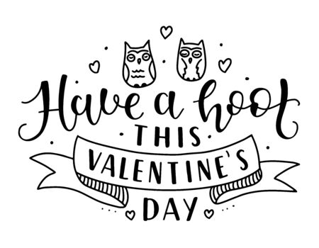 Colored calligraphy with two owls and ribbon, text isolated on white background. St Valentines Day The 14th of February fun lettering.