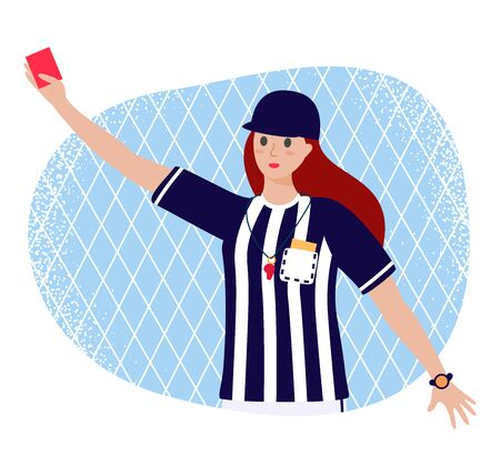 Cartoon flat girl referee in judge uniform with red card in hand. Vector stock illustration isolated on white background. Illustration