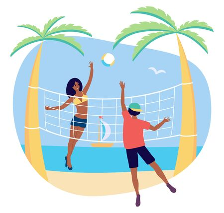 Group of afroamerican player in beach volleyball, young man and girl enjoying group activity in a beach with ball. Vector stock illustration, black students on vacation in tropical place