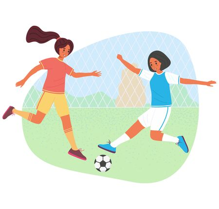 Teenage girls playing soccer with a ball, vector stock illustration. Young players in sportswear flat cartoon character. Young women in sports uniform practice football game