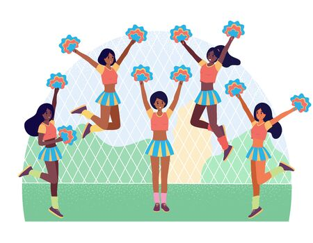 Afro american cheerleading girl team. Football or american soccer support flat cartoon character. Vector stock illustration, group of student with pom pons, set of young black women in school sport competition