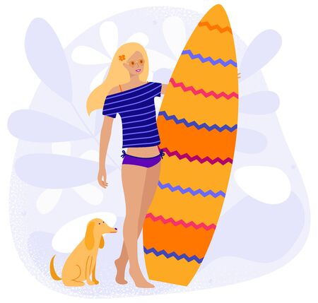 Girl with a dog getting ready to surfing, vector flat cartoon illustration isolated on white background. Young woman holding a surfboard