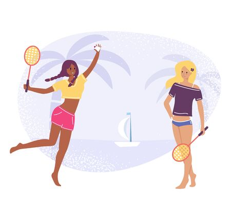 Two young girls play in badminton, vector stock illustration isolated on white background. Girlfriends holding rackets and shuttlecock, healthy lifestyle concept in flat cartoon stile.
