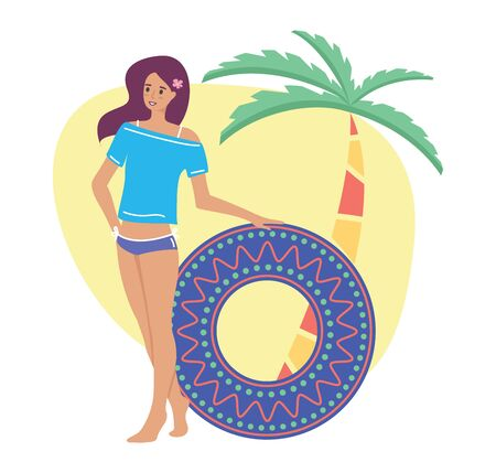 Woman enjoy resting on the beach with inflatable circle, flat cartoon illustration. Vector composition with beach, palm tree and a young girl with a rubber ring
