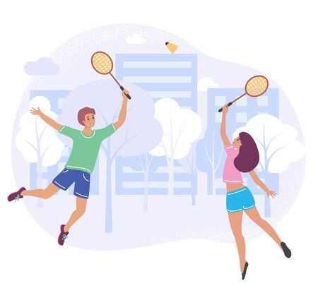 Couple playing badminton in a city park, vector stock illustration in flat cartoon stile. Friends enjoy open air game and active rest