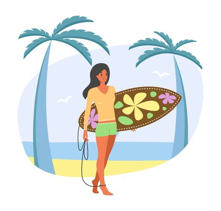 Young women in surf suit walks along the ocean or sea, flat cartoon stile. Concept of summer sports and leisure outdoor activities. Sun-tanned girl holding a surfboard - vector stock illustration isolated on white background.