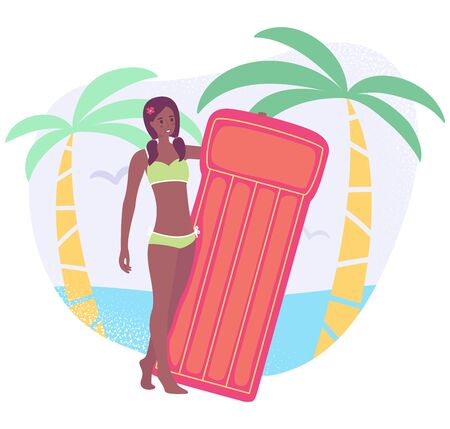 Vector colorful illustration in flat cartoon stile, young woman holding the inflatable mattress. Afroamerican girl in a swimwear on the tropical beach with two palm tree