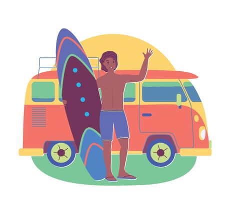 Young sun tanned man with surfboard stay near retro bus. Vector stock illustration in flat cartoon stile. Summer concept of vacation, traveling, tourism, journey, recreation or rest