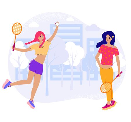 Girlfriends play in badminton outside, two young girl in flat cartoon stile with rackets and shuttlecock play in city park. Vector stock illustration isolated on white background.