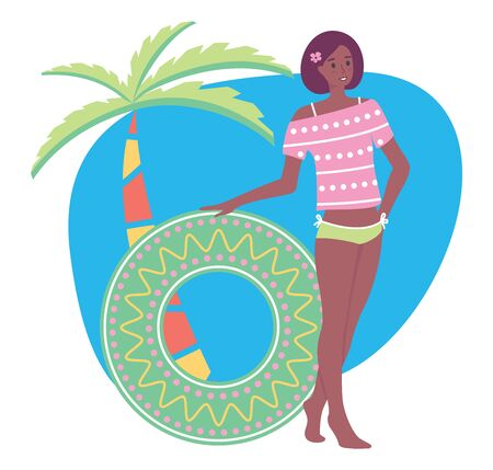 Afroamerican woman rest on the beach, vector stock illustration in flat cartoon stile. A girl stands near a palm tree and holds a swimming circle