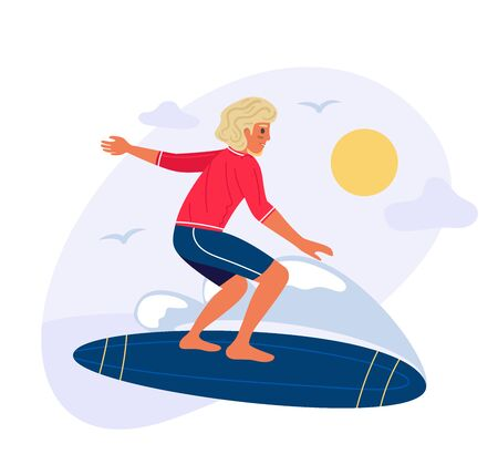 Young man is riding surfing. Summer time concept , flat sun, wave and chappy on surfboard. Cartoon vector stock illustration isolated on white background.