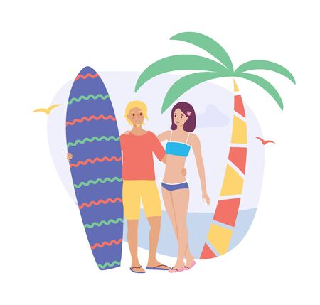 Young surf man and woman with board. Flat cartoon couple characters isolated on white background. Summer vector illustration Illustration