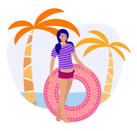 Young girl with swimming circle on the tropical beach, cartoon flat vector style. Woman actively resting in summer on vacation, iIsolated element on white background
