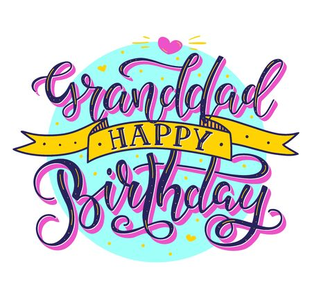 Granddad Happy Birthday colored text with ribbon isolated on white background, vector stock illustration. Calligraphy for posters, photo, greeting card, t-shirt print and social media Illustration