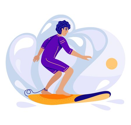 Young man learning to stand on a surfboard. Surf training concept, vector stock illustration in flat cartoon stile.