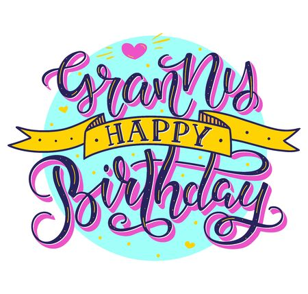 Granny Happy Birthday colored text with ribbon isolated on white background, vector stock illustration. Calligraphy for posters, photo, greeting card, t-shirt print and social media