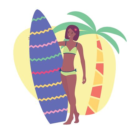 Sun-tanned woman holding a surfboard, vector stock illustration isolated on white background. Flat cartoon palm tree, sand, and a young smiling girl Illustration