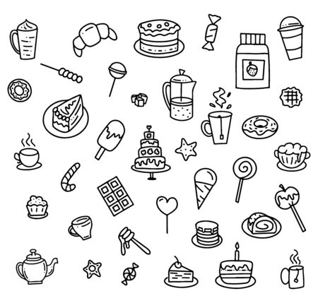 Set of hand drawn elements for cafe or restaurant menu, black doodle isolated on white background, vector stock illustration