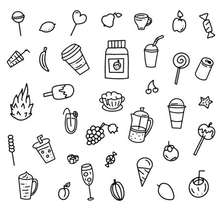 Set of hand drawn elements for summer cafe menu, vector stock illustration, black doodle isolated on white background.